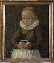 PORTRAIT OF A SIXTEENTH CENTURY CHILD OF NOBILITY WEARING A RUFF AND LARGE GOLD MEDALLION.