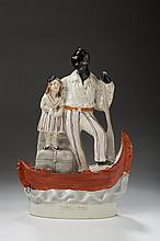 STAFFORDSHIRE FIGURAL GROUP OF 'UNCLE TOM AND LITTLE EVA,' MID-NINETEENTH CENTURY.