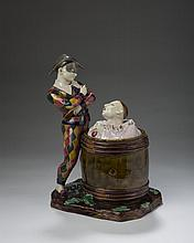 FRENCH FAIENCE FIGURAL TOBACCO JAR AND COVER, THOMAS SERGENT, PARIS, 1880-90.