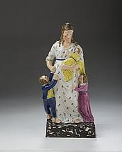 STAFFORDSHIRE PEARLWARE FIGURAL GROUP OF 'CHARITY,' CIRCA 1800.