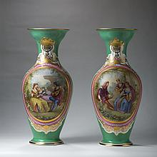 PAIR OF PARIS PORCELAIN PAINTED AND GILT GREEN-GROUND VASES, LATE NINETEENTH CENTURY.