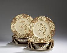 SET OF EIGHTEEN ROYAL WORCESTER PORCELAIN BOTANICAL CABINET OR DESSERT PLATES, 1884, 1887 AND 1888.