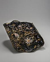 FRENCH ENAMELLED AND GILT BLACK GLASS TRAY, SIGNED GALLE NANCY, LATE NINETEENTH CENTURY.