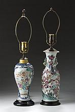 TWO CHINESE EXPORT PORCELAIN FAMILLE ROSE VASES.
