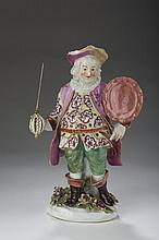 DERBY PORCELAIN THEATRICAL FIGURE OF JAMES QUINN IN THE ROLE OF 'FALSTAFF,' FROM SHAKESPEARE'S HENRY IV, 1765-70.