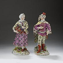 TWO DERBY PORCELAIN THEATRICAL FIGURES OF DAVID GARRICK IN THE ROLE OF 'TANCRED,' IN JAMES THOMSON'S 'TANCRED & SIGISMUNDA,' AND MRS. CIBBER IN THE PART OF 'VIVANDIERE,' CIRCA 1760.