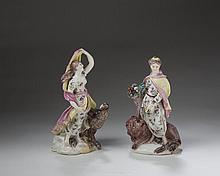 TWO BOW PORCELAIN ALLEGORICAL BOCAGE FIGURES OF 'CERES' (EARTH) AND 'JUNO' (AIR) FROM A SET OF THE 'FOUR ELEMENTS,' CIRCA 1758.