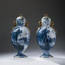 PAIR OF SPODE COPELAND PORCELAIN VASES AND COVERS, PAINTED BY WILLIAM (BILLY) YALE, CIRCA 1895.