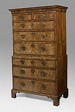 GEORGE II INLAID WALNUT CHEST-ON-CHEST.