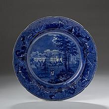 HARVARD COLLEGE: ACORN AND OAK LEAVES BORDER SERIES, STAFFORDSHIRE DARK BLUE TRANSFER-PRINTED PLATE, RALPH STEVENSON & WILLIAMS, 1825-27.