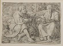 LUCAS VAN LEYDEN (DUTCH 1494-1533). SAINTS PETER AND PAUL SEATED IN A LANDSCAPE.