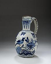 DUTCH DELFT BLUE AND WHITE EWER, LATE SEVENTEENTH-EARLY EIGHTEENTH CENTURY.