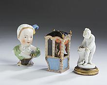 MEISSEN PORCELAIN MODEL OF A LADY WITH PUG IN A SEDAN CHAIR, 1850-1924; AND A DRESDEN PORCELAIN BUST OF A MAID, CARL THIEME, 1888-1901.