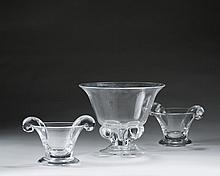 PAIR OF STEUBEN GLASS #801 OLIVE DISHES AND A #7802 BOWL WITH FOLIATED BASE, ALL DESIGNED BY JAMES MCNAUGHTON IN 1937.