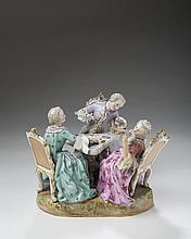 MEISSEN PORCELAIN FIGURAL GROUP OF 'THE CARD PLAYERS,' 1850-1924.