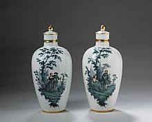PAIR OF MEISSEN PORCELAIN 'GREEN WATTEAU' VASES AND COVERS, LATE NINETEENTH CENTURY.