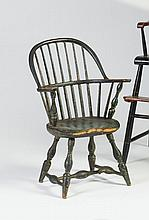 RARE NEW ENGLAND CHILD'S GREEN-PAINTED SACK BACK WINDSOR ARMCHAIR, LATE EIGHTEENTH CENTURY.