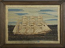 SAILOR'S WOOLWORK PICTURE OF AN AMERICAN FOUR-MASTED BARK, CIRCA 1850.