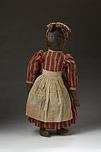 AMERICAN FOLK ART BLACK 'MAMMY' RAG DOLL, LATE NINETEENTH CENTURY.
