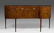 HEPPLEWHITE INLAID-FLAME MAHOGANY HOLLOW FRONT SIDEBOARD, NEW YORK OR BALTIMORE, 1800-10.