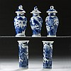 CHINESE EXPORT PORCELAIN BLUE AND WHITE FIVE-PIECE MINIATURE GARNITURE.