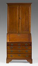 COUNTRY CHIPPENDALE MAPLE SLANT-LID SECRETARY BOOKCASE.