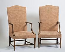 PAIR OF FEDERAL STYLE MAHOGANY LOLLING CHAIRS.
