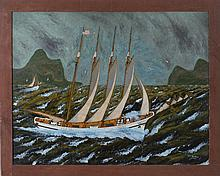 FOLK ART PAINTING OF A FOUR-MASTED BARK IN CHOPPY SEAS.