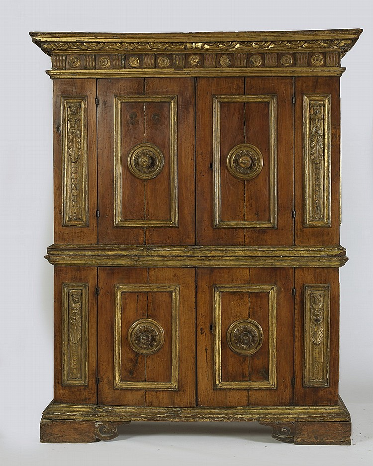 ITALIAN CARVED, PAINTED AND PARCEL-GILT WALNUT DOUBLE CREDENZA, EIGHTEENTH CENTURY.