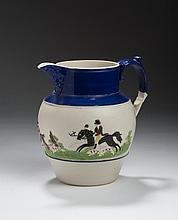 STAFFORDSHIRE STONEWARE RELIEF-MOLDED AND ENAMEL-DECORATED 'HUNTING SCENES' JUG, 1790-1800.