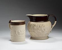 STAFFORDSHIRE STONEWARE RELIEF-SPRIGGED TANKARD, TURNER, 1800-10; AND A HIGH RELIEF-SPRIGGED JUG, BENJAMIN ADAMS, 1805-21.
