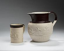 STAFFORDSHIRE STONEWARE RELIEF-SPRIGGED TANKARD, TURNER; AND A RELIEF-SPRIGGED JUG, THOMAS & JOHN HOLLINS, BOTH 1800-10.