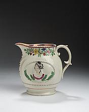 STAFFORDSHIRE PEARLWARE ENAMEL AND PINK LUSTRE-DECORATED 'QUEEN CAROLINE' PORTRAIT JUG, CIRCA 1820.
