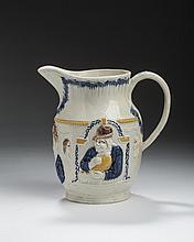 STAFFORDSHIRE PEARLWARE PRATTWARE 'MISER,' 'SPENDTHRIFT' AND 'SHAKESPEARE' JUG, 1800-20.