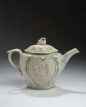 STAFFORDSHIRE STONEWARE AND GREEN ENAMEL-DECORATED 'MISCHIEVOUS SPORT' AND 'SPORTIVE INNOCENCE' TEAPOT AND COVER, 1790-1810.