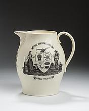 ENGLISH CREAMWARE BLACK TRANSFER-PRINTED 'FARMER'S ARMS/ IN GOD WE TRUST' AND 'HARVEST' JUG, 1780-1800.