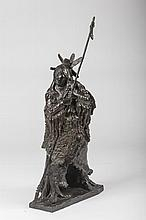 RICHARD VERNON GREEVES (AMERICAN, B. 1935). BRONZE FIGURE OF CRAZY HORSE, WAR CHIEF OF THE OGLALA LAKOTA.