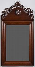 WILLIAM AND MARY STYLE MAHOGANY MIRROR WITH PIERCED CREST, BRANDED