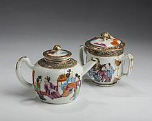 CHINESE EXPORT PORCELAIN 'MANADARIN FIGURE' TEAPOT AND COVER, AND A STRAP-HANDLED SUGAR BOWL AND COVER, LATE NINETEENTH-EARLY TWENTIETH CENTURY.