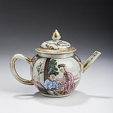 CHINESE EXPORT PORCELAIN FAMILLE ROSE TEAPOT AND COVER, 1775-85.