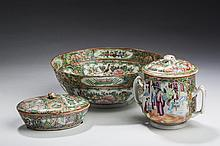 CHINESE EXPORT PORCELAIN 'ROSE MEDALLION' BOWL, SUGAR BOWL AND COVER, AND BUTTER DISH AND COVER, MID-LATE NINETEENTH CENTURY.