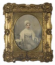 SMALL PORTRAIT OF A WOMAN IN WHITE BONNET AND SHAWL.
