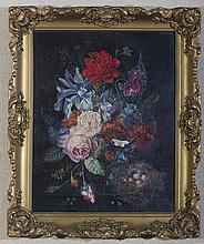 BEATRICE S. UTLEY (AMERICAN 1915-1998). DUTCH STYLE STILL-LIFE OF ROSES, TULIPS AND IRIS WITH A BIRD'S NEST, AFTER VAN HUYSUM.