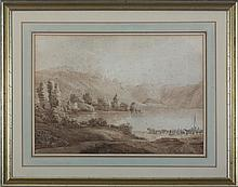 PAIR OF SWISS LANDSCAPES IN SEPIA, CIRCA 1840.