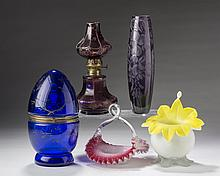 FRENCH OR BOHEMIAN BLUE GLASS EGG FITTED WITH A SEVEN-PIECE CORDIAL SET, CIRCA 1900.