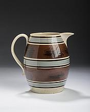 BRITISH CREAMWARE MOCHAWARE DENDRITIC-DECORATED JUG, CIRCA 1820.