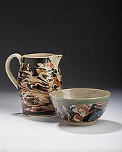 BRITISH CREAMWARE MOCHAWARE SLIP-MARBLED JUG AND A PEARLWARE HEMISPHERICAL BOWL, 1790-1800.