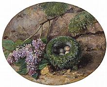 WILLIAM CRUICKSHANK (BRITISH 1848-1922). A NEST WITH BRANCH OF LILACS.