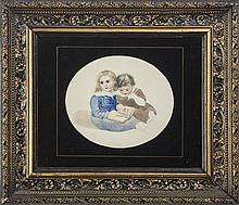 OVAL WATERCOLOR OF TWO SMALL CHILDREN WITH A PICTURE BOOK.