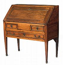 FRENCH PROVINCIAL BRASS-MOUNTED FRUITWOOD SLANT-LID DESK.
